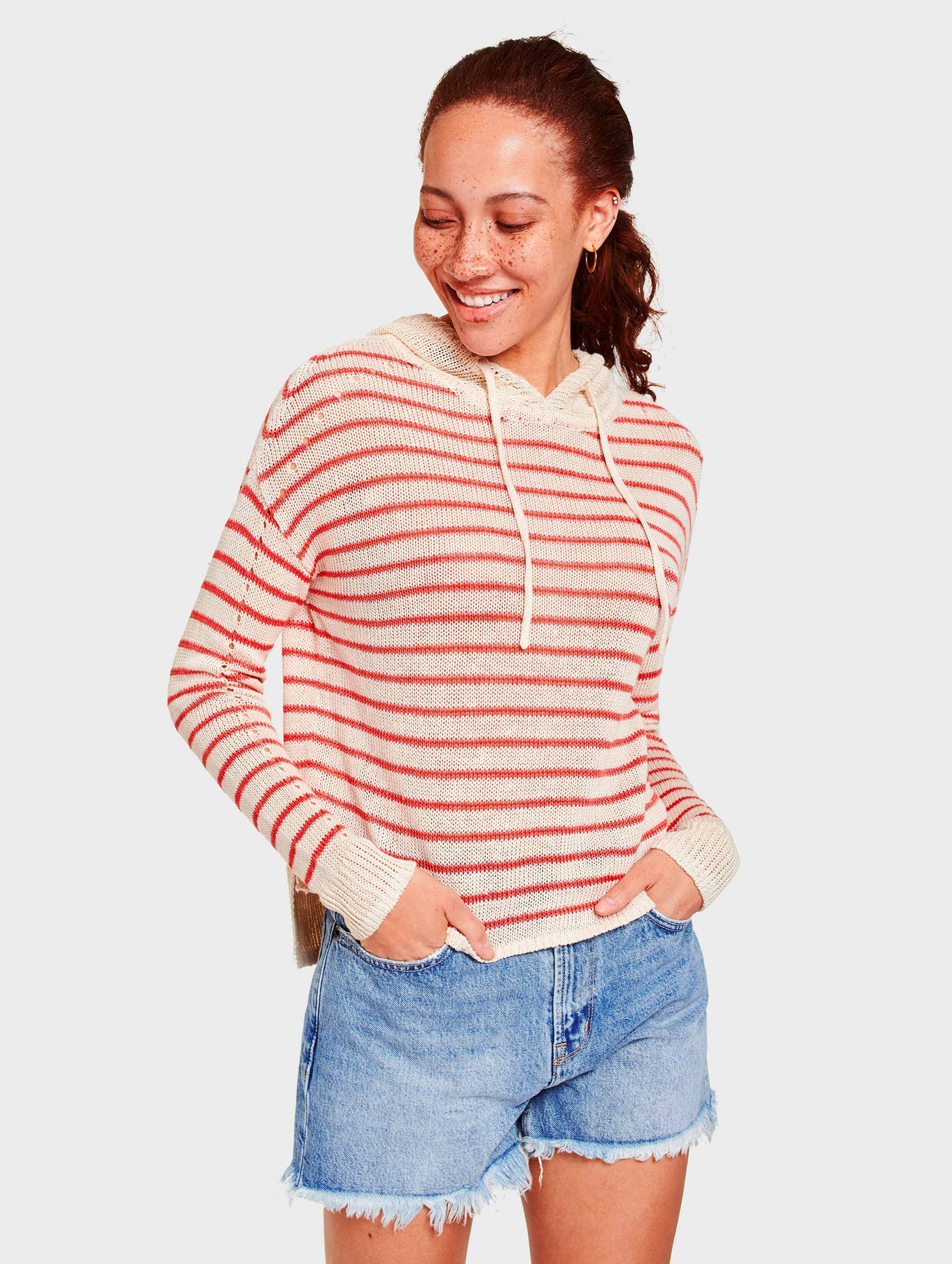 Corded Linen Striped Hoodie - Ivory/Red Stripe - Image 2