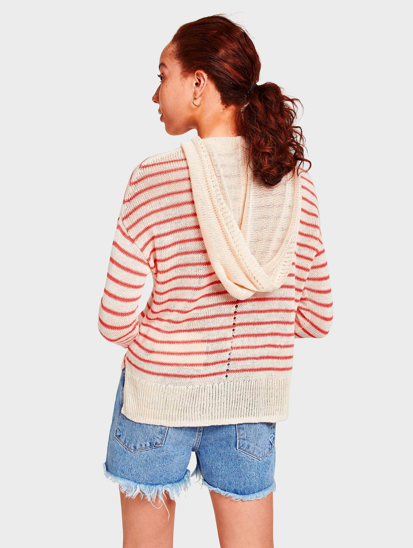 Corded Linen Striped Hoodie