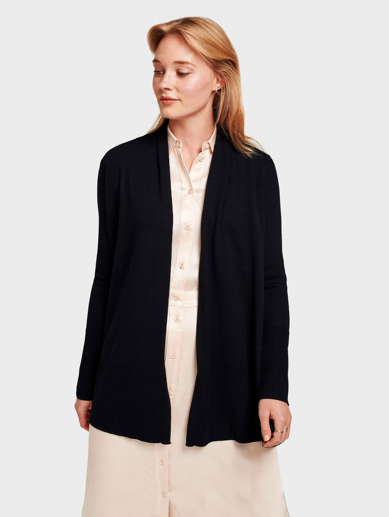 High Rib Open Cardigan - Black - Image 1