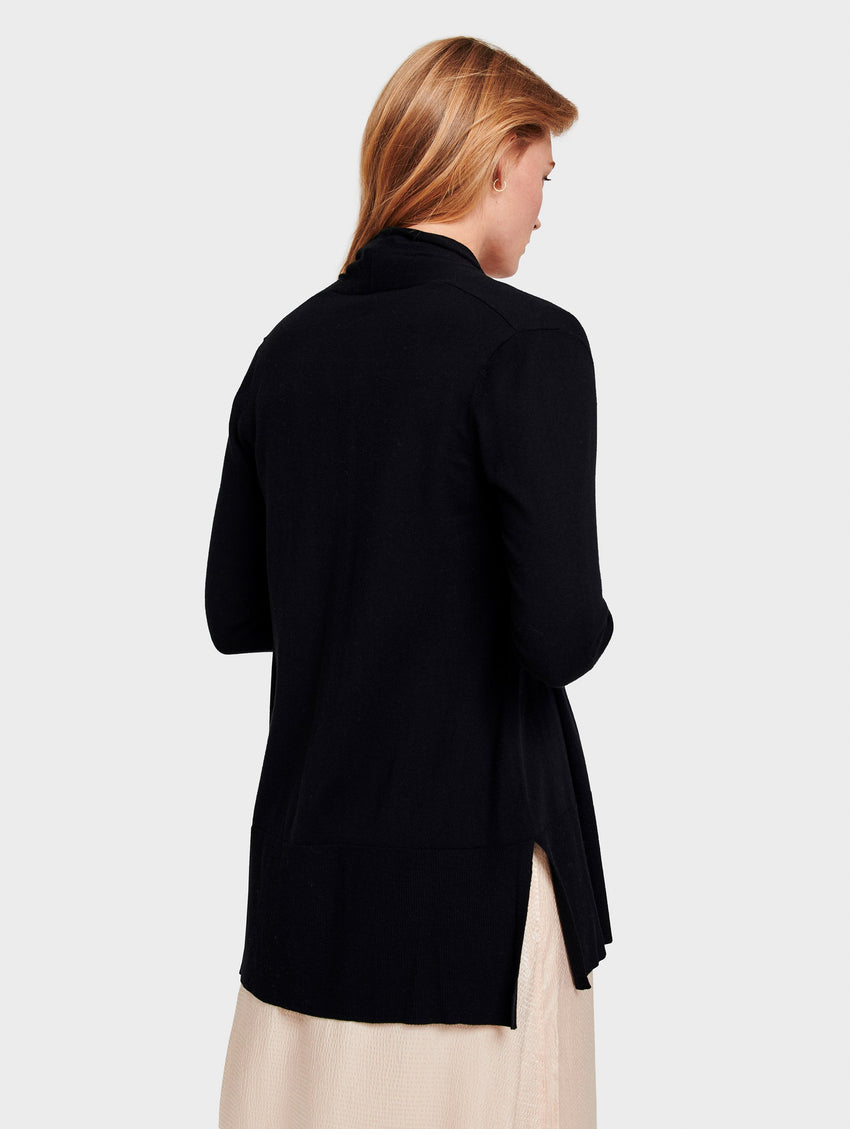 High Rib Open Cardigan - Black - Image 2