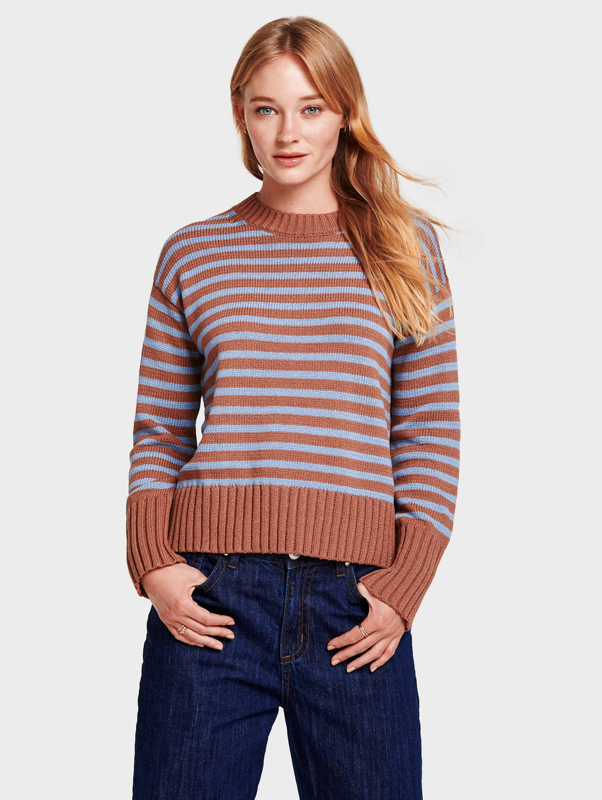 Cotton Striped Fluid Hem Crewneck - Baltic/Sandalwood - Image 1