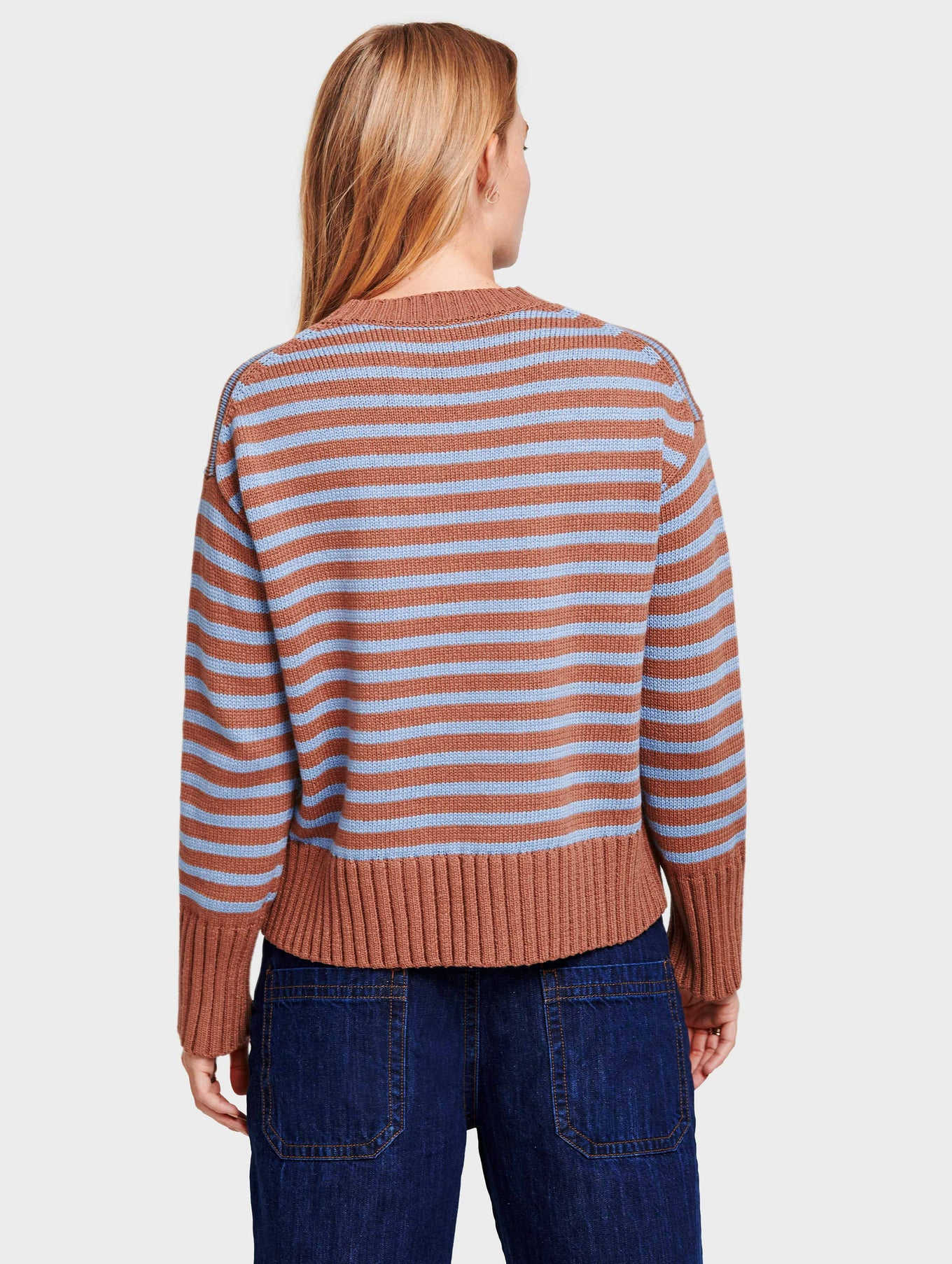 Cotton Striped Fluid Hem Crewneck - Baltic/Sandalwood - Image 4