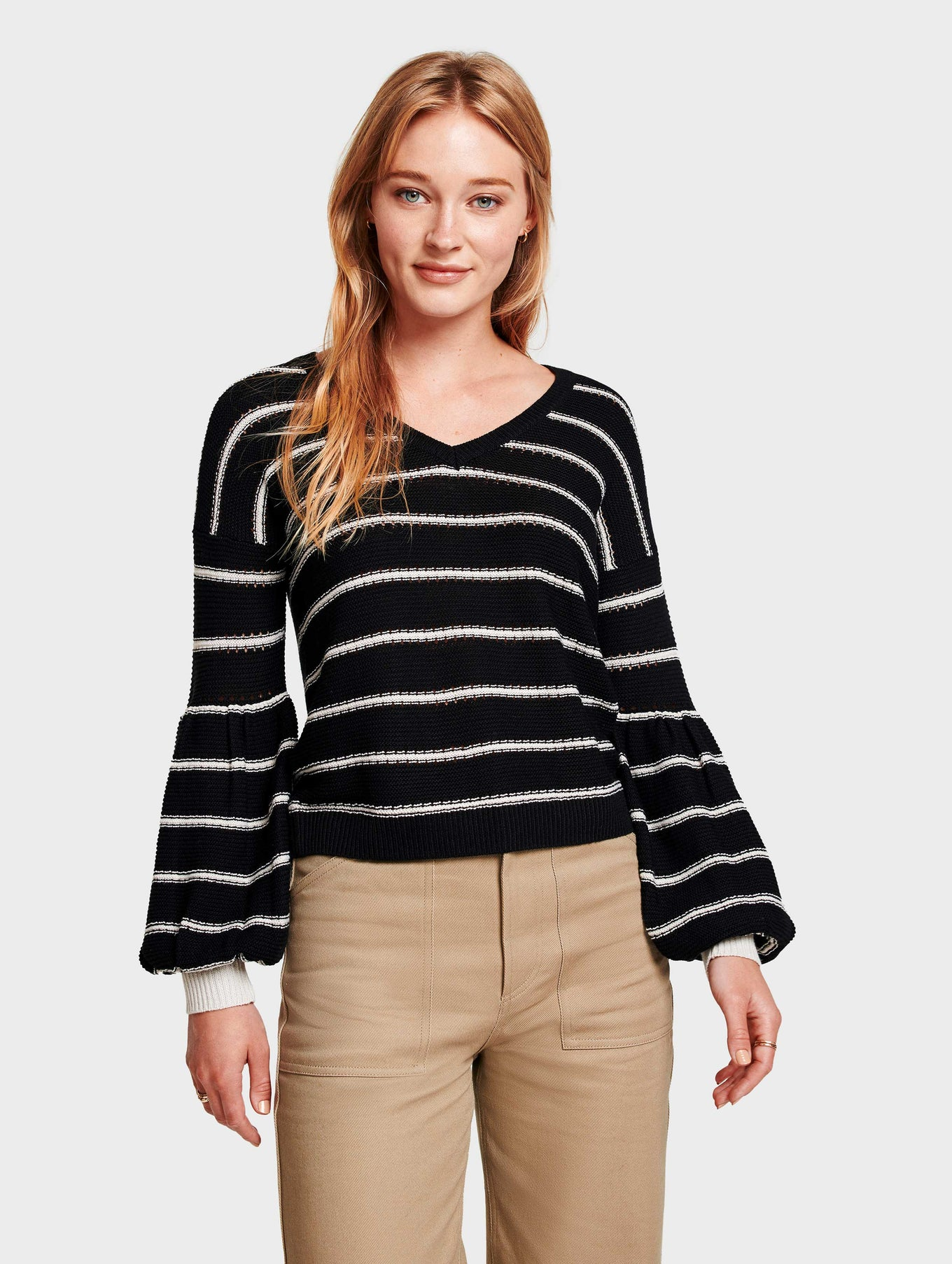Jade Blend Striped Open V Neck