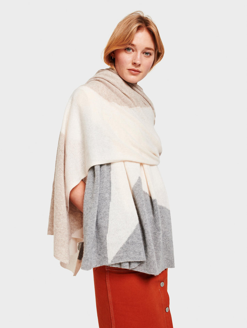 Cashmere Exploded Star Travel Wrap - Pearl White Multi - Image 2