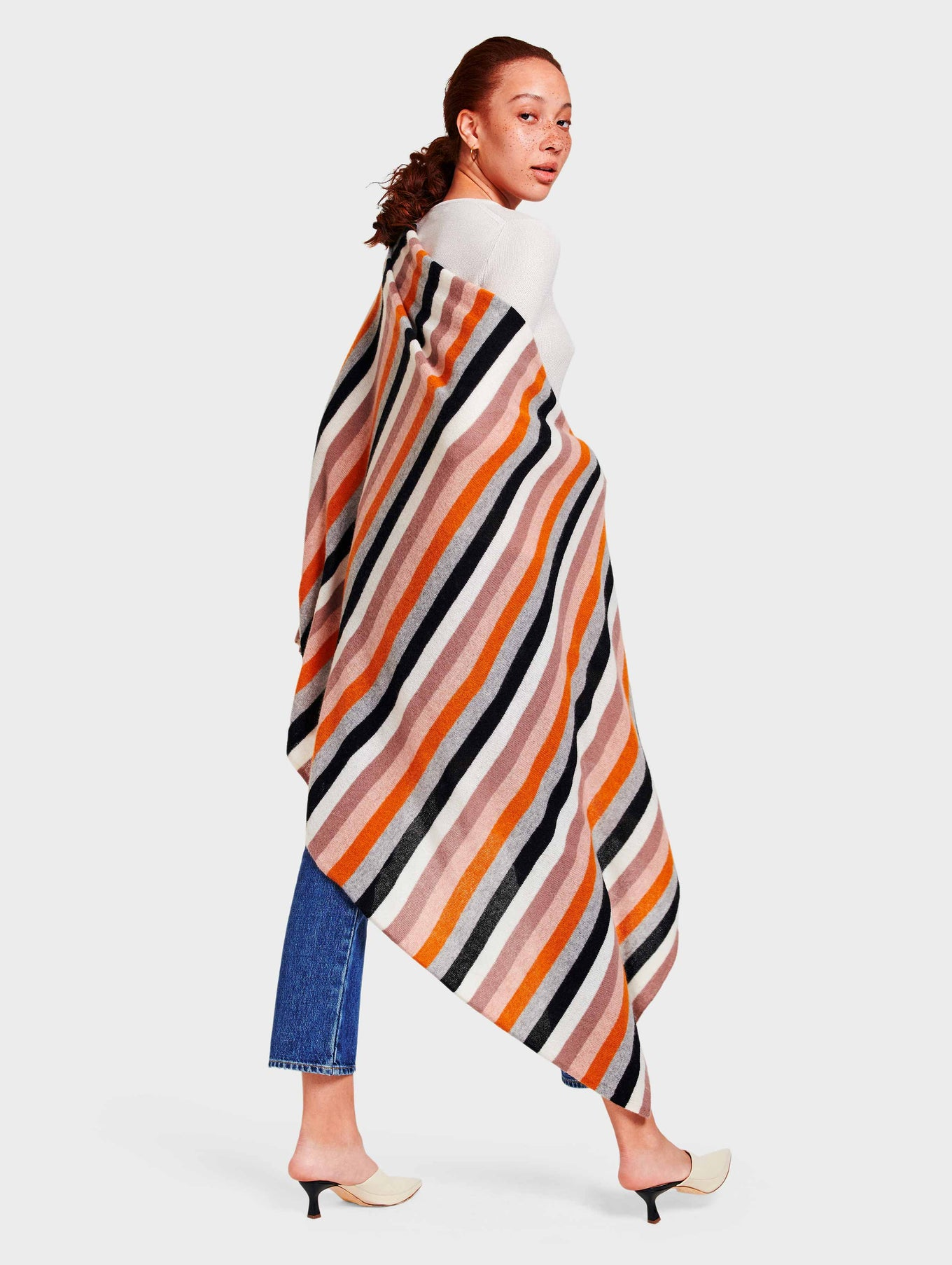 Cashmere Multi Color Stripe Travel Wrap - Black Multi - Image 1