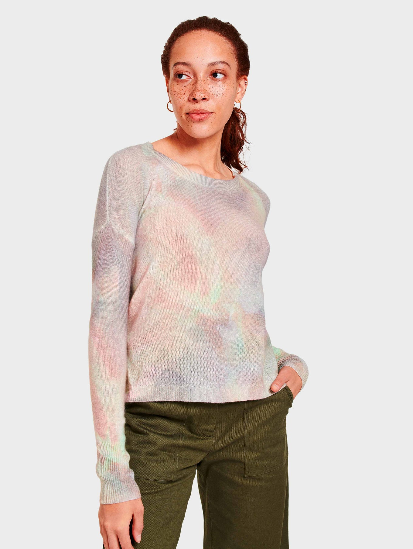 Cashmere Aura Print Pullover - Pink Multi - Image 3