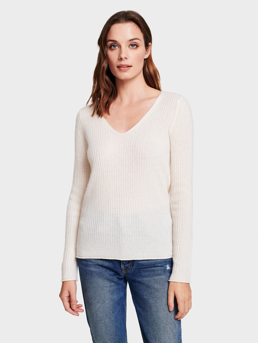 Cashmere Slim Ribbed V Neck