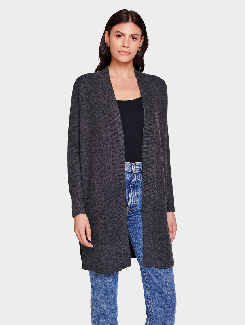 Italian Plush Melange Open Long Cardigan