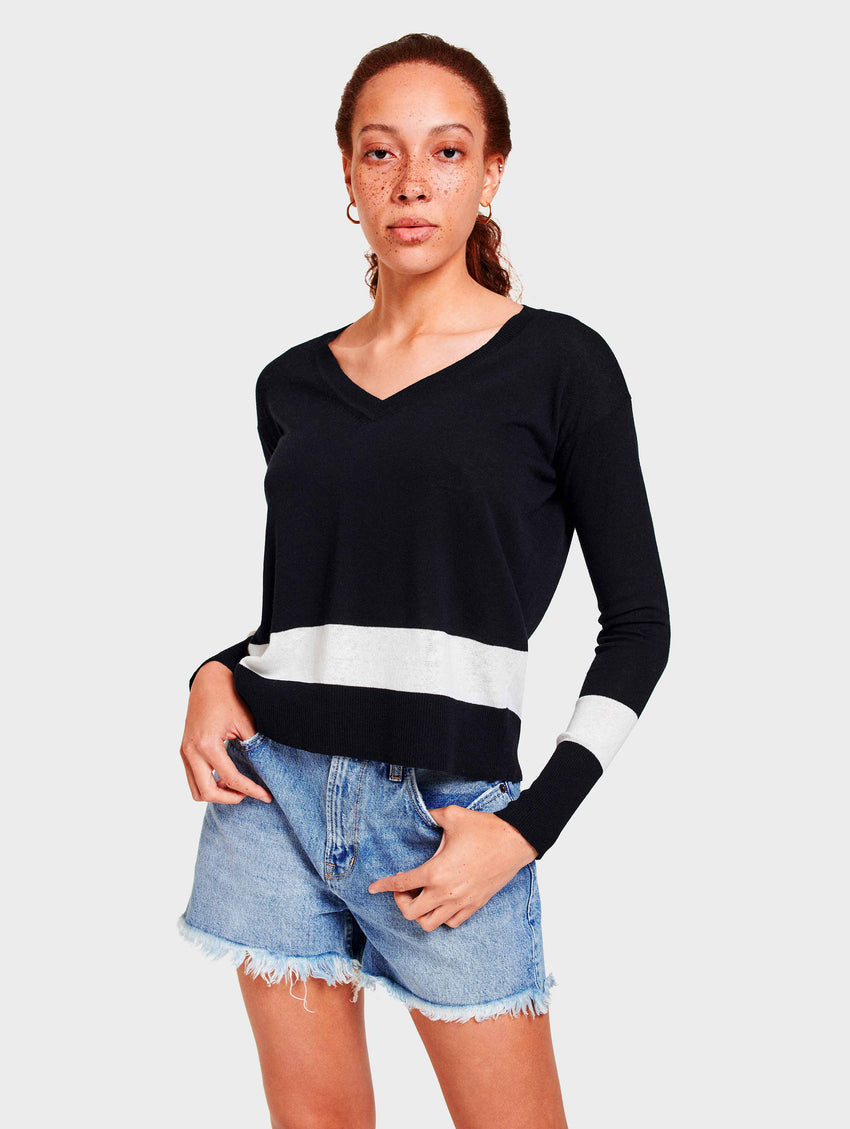 Cotton Block Stripe V Neck - Pure Black/White - Image 2