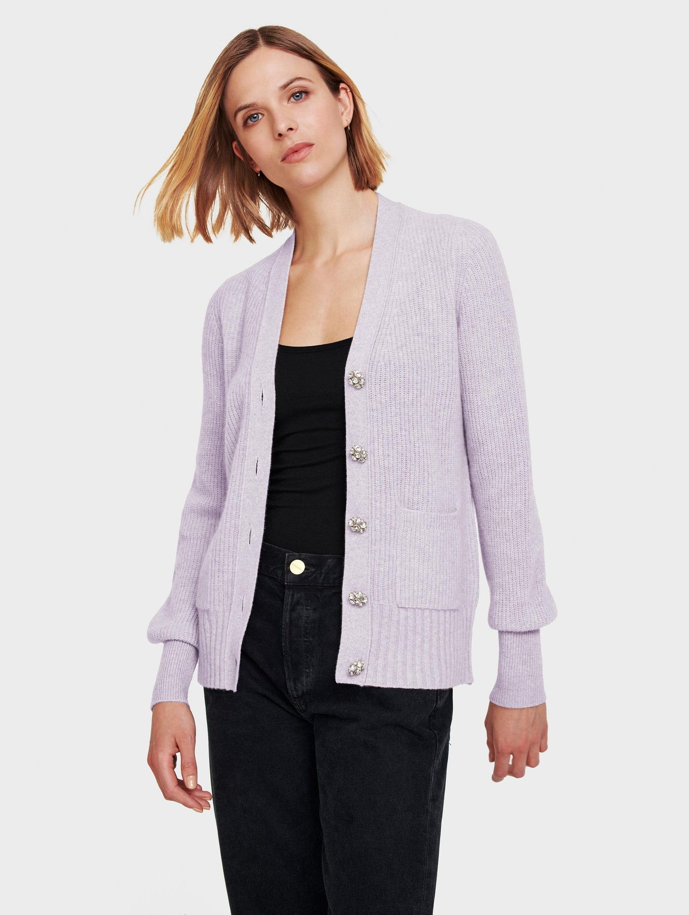 Cashmere Crystal Button Cardigan
