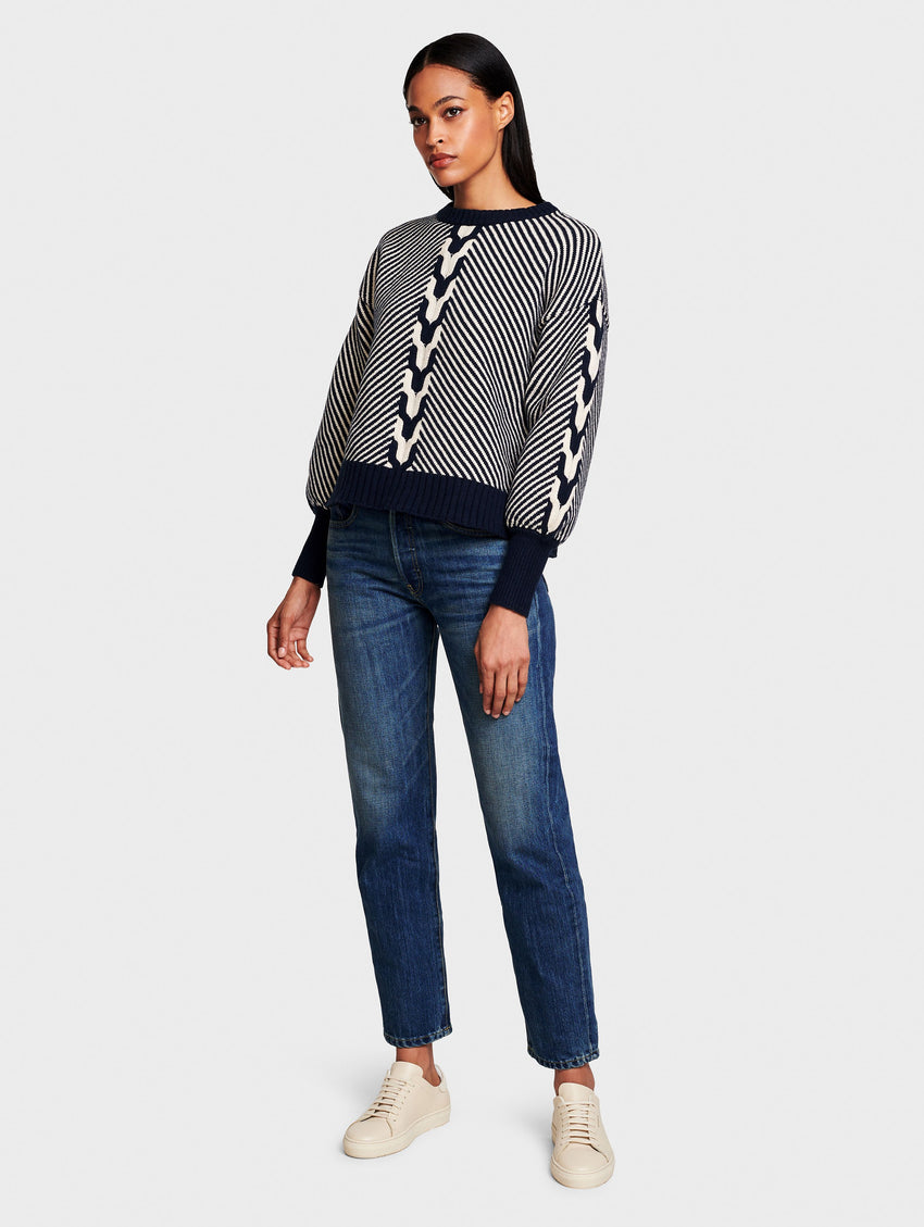 Cotton Plush Melange Contrast Cable Pullover