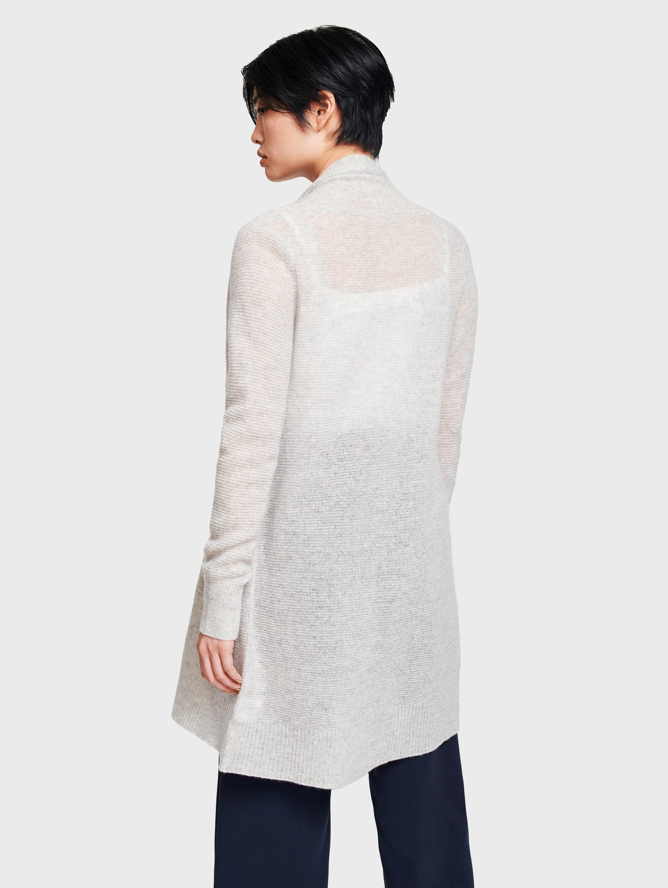 Cashmere Textured Open Cardigan