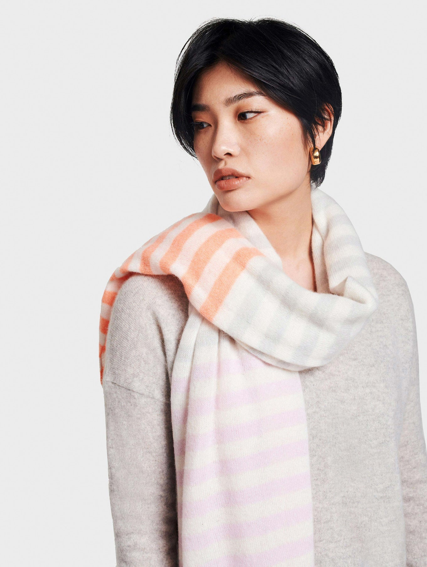 Cashmere Mini Multi Stripe Travel Wrap