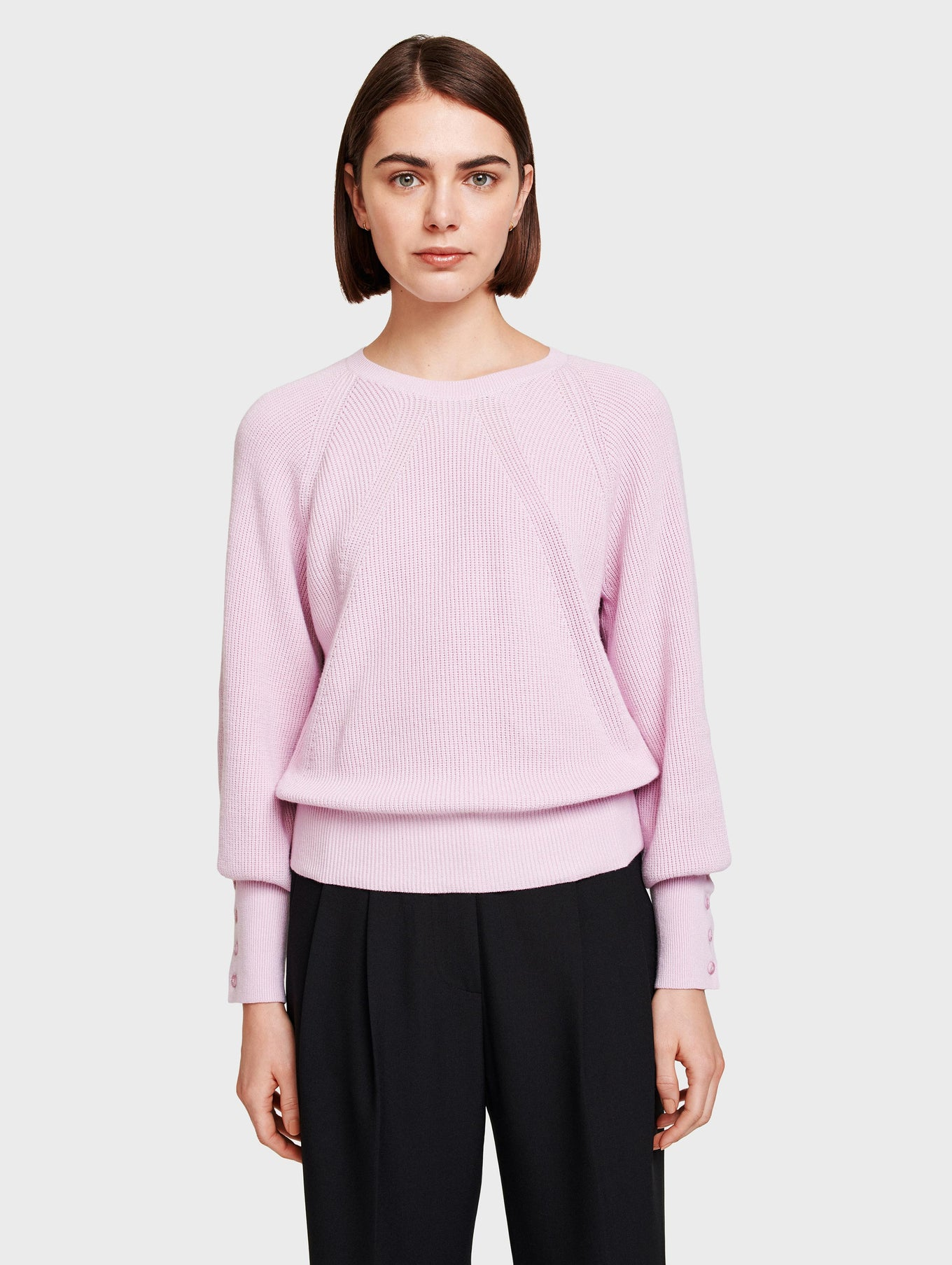 Cotton Ribbed Button Cuff Crewneck