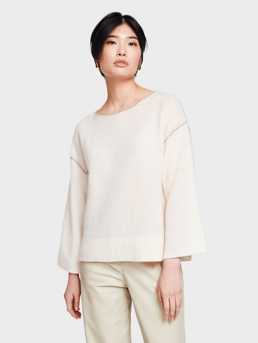 Cashmere Blanket Stitch Open Crewneck