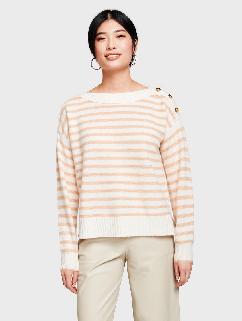 Women's Cashmere Button Shoulder Boatneck Sweater