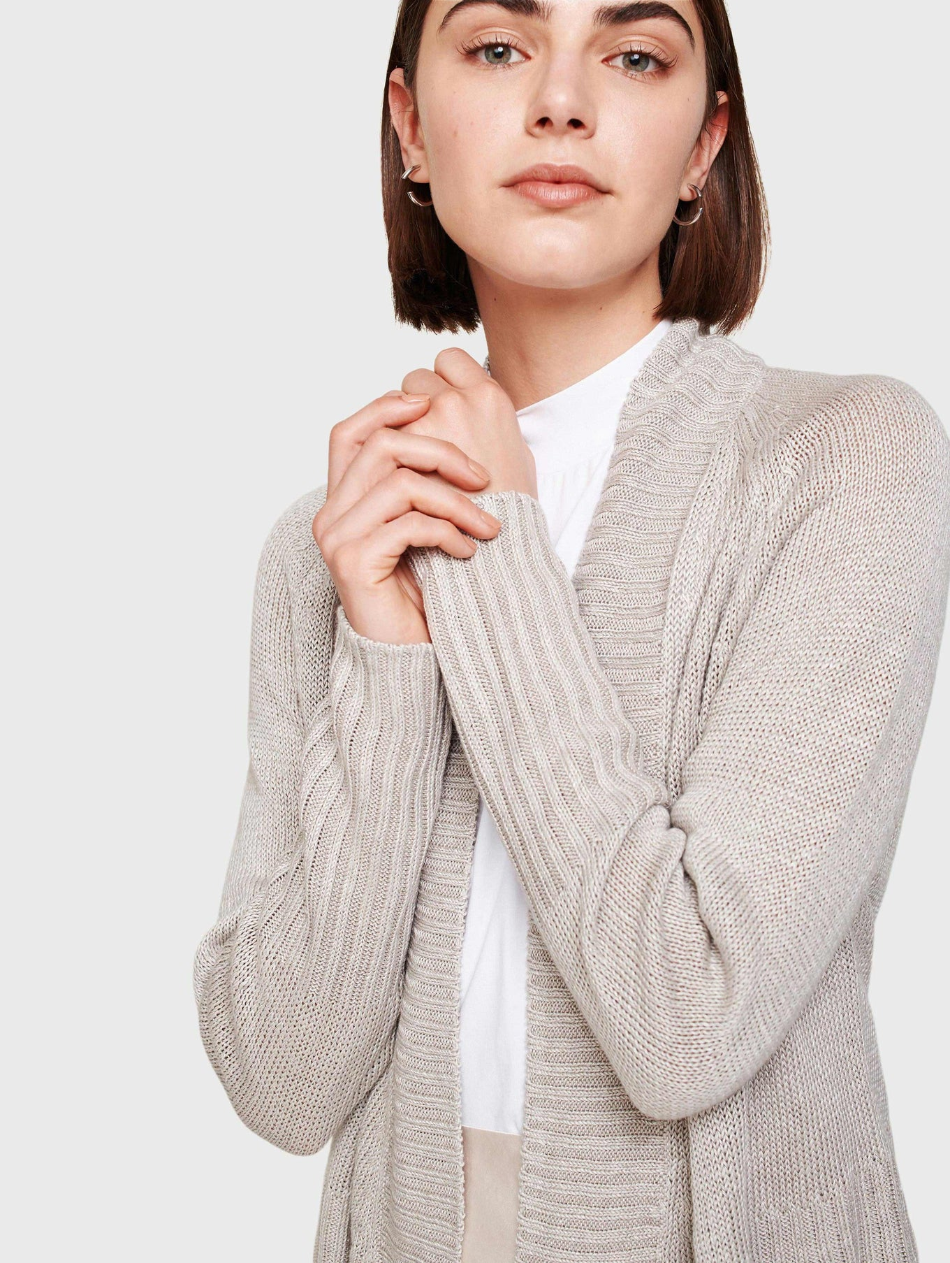 Corded Linen Rib Placket Open Cardigan
