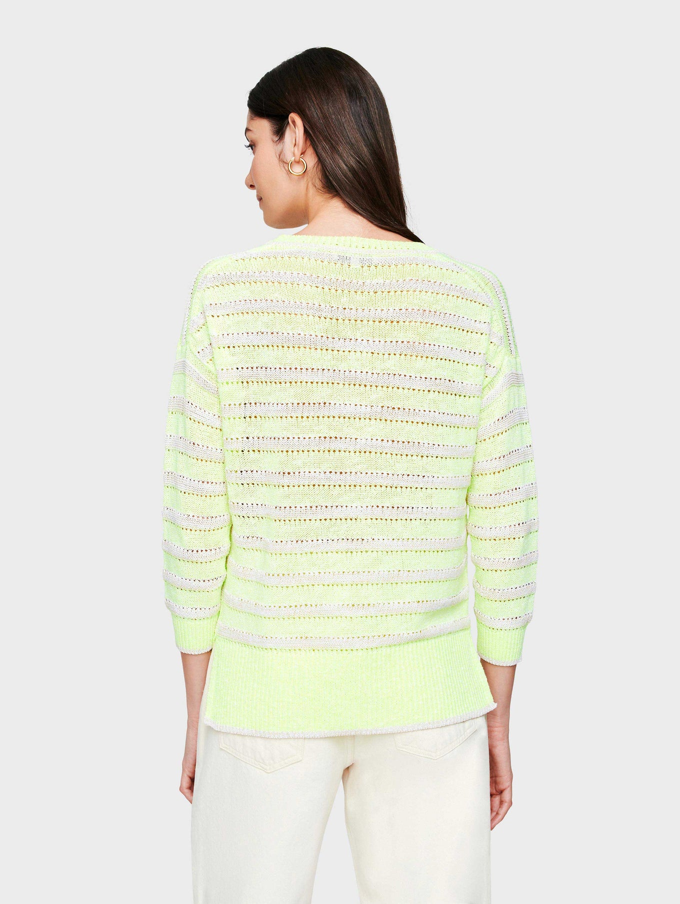 Cotton Neon Striped Crewneck