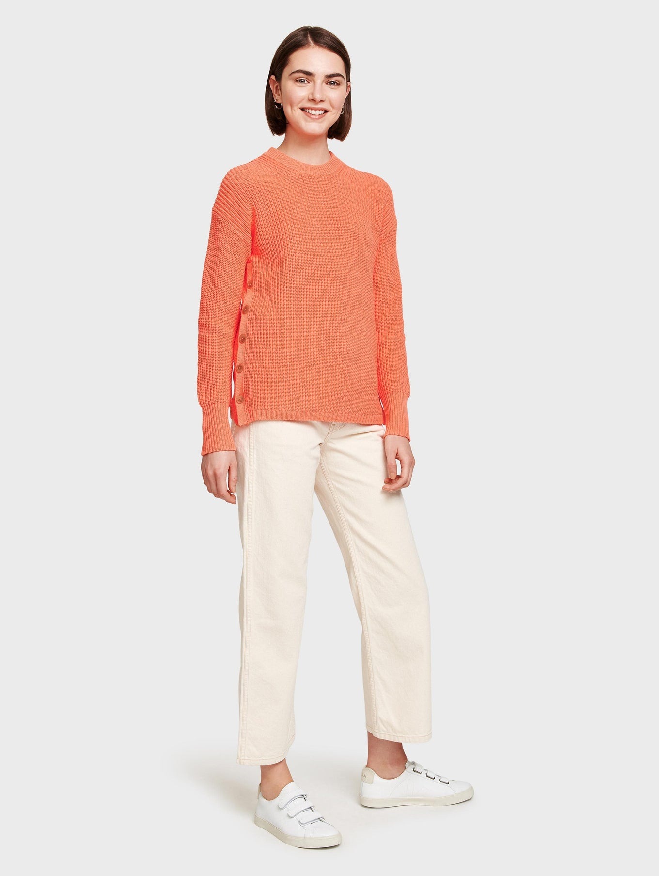 Cotton Side Button Ribbed Tunic