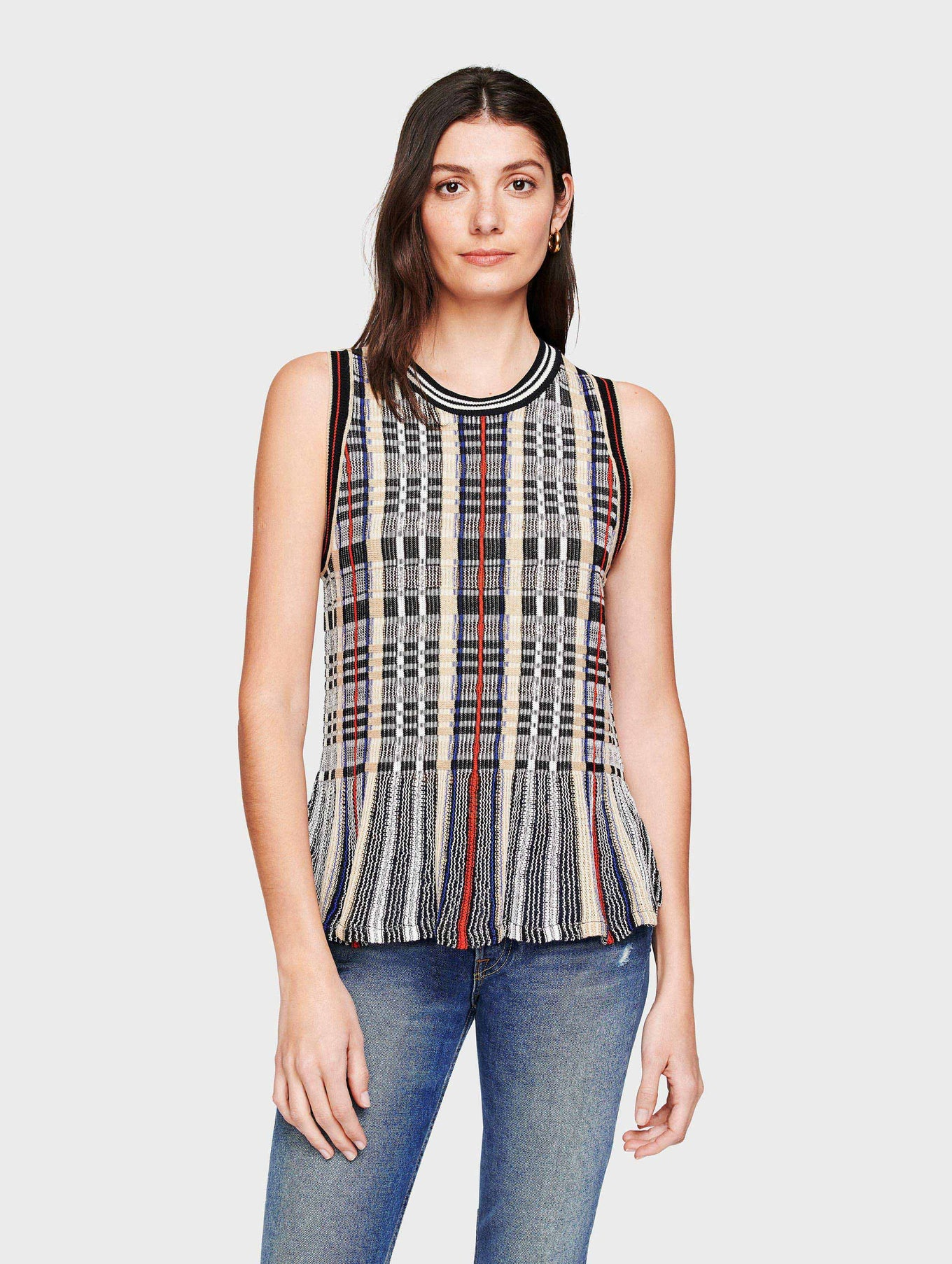 Cotton Plaid Ruffle Hem Tank