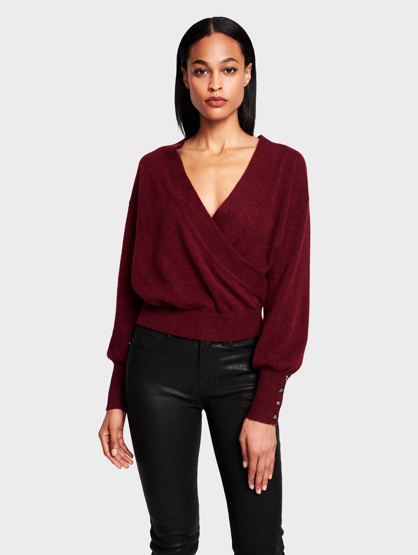 Cashmere Button Cuff Wrap Top