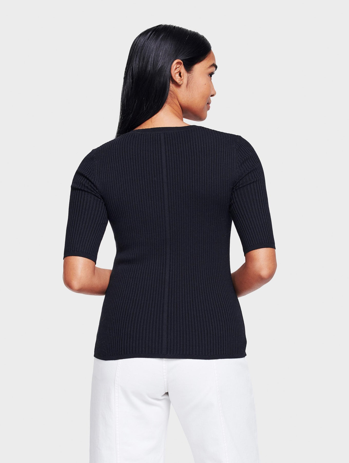Essential Cotton Ribbed Crewneck Tee