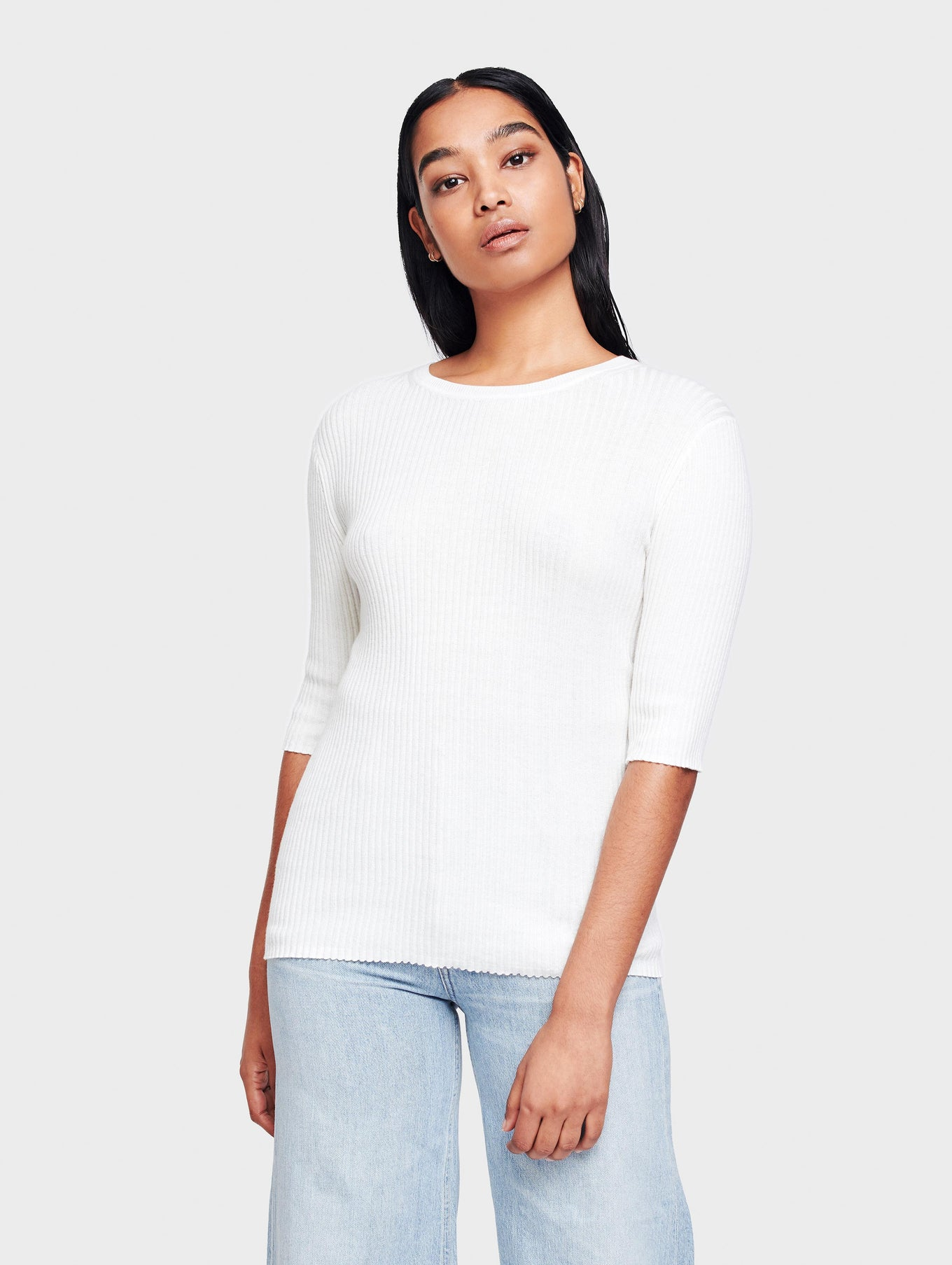 Cotton Ribbed Crewneck Tee