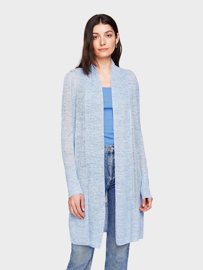 Linen Long Open Cardigan