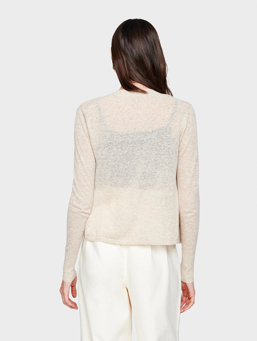 Linen Cropped Swing Cardigan