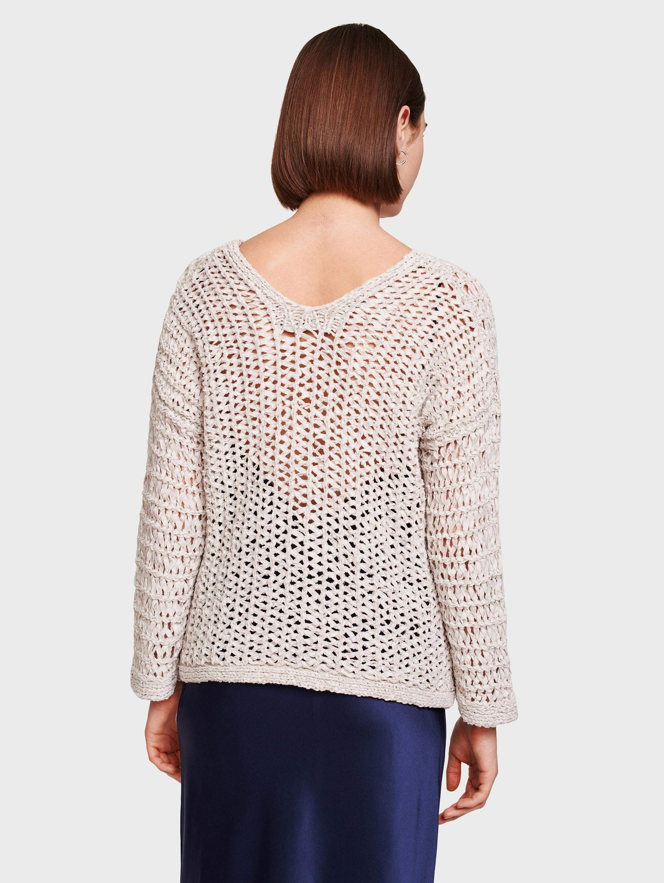 Cotton Open Knit V Neck