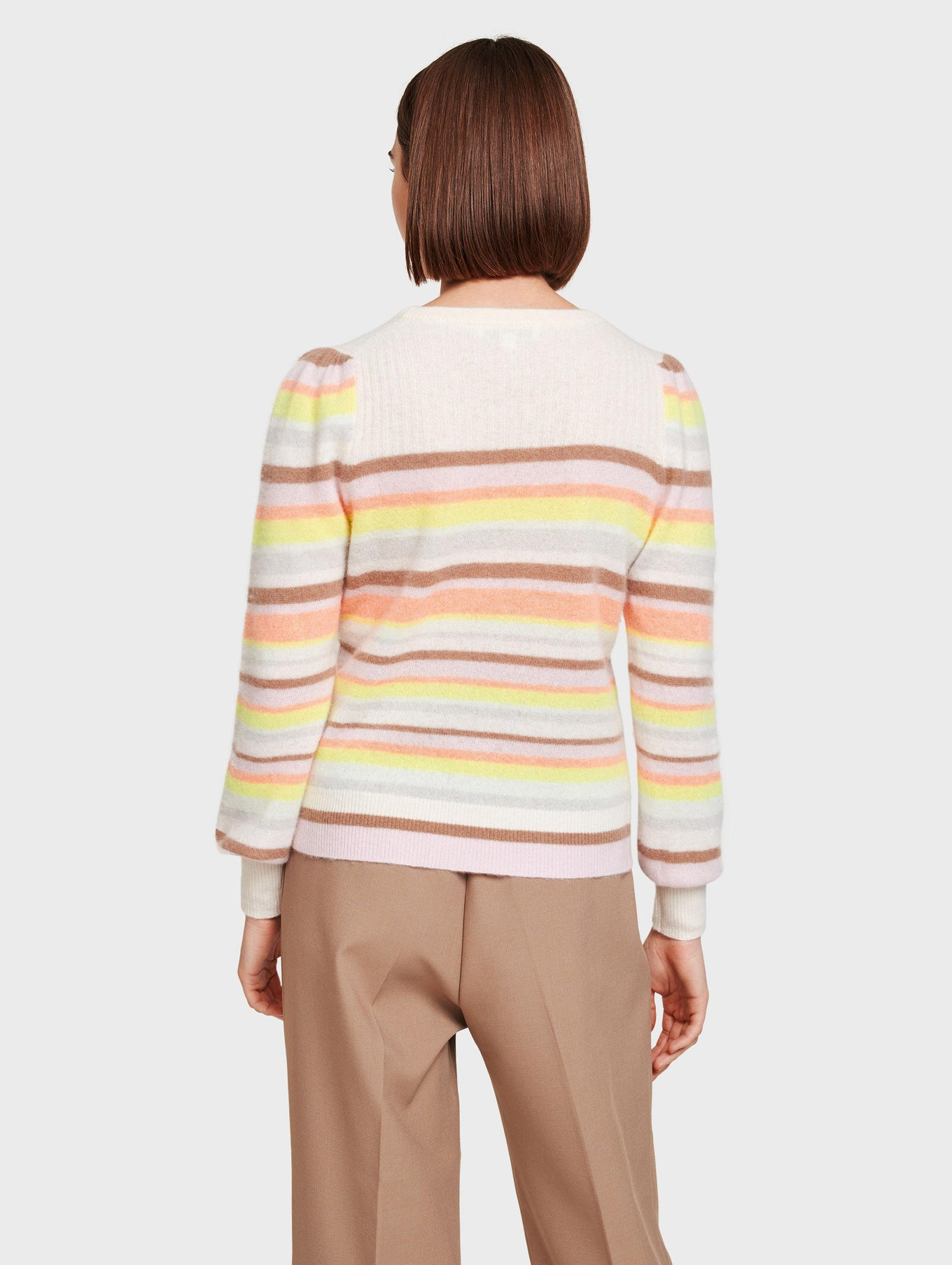 Cashmere Ribbed Yoke Striped Crewneck