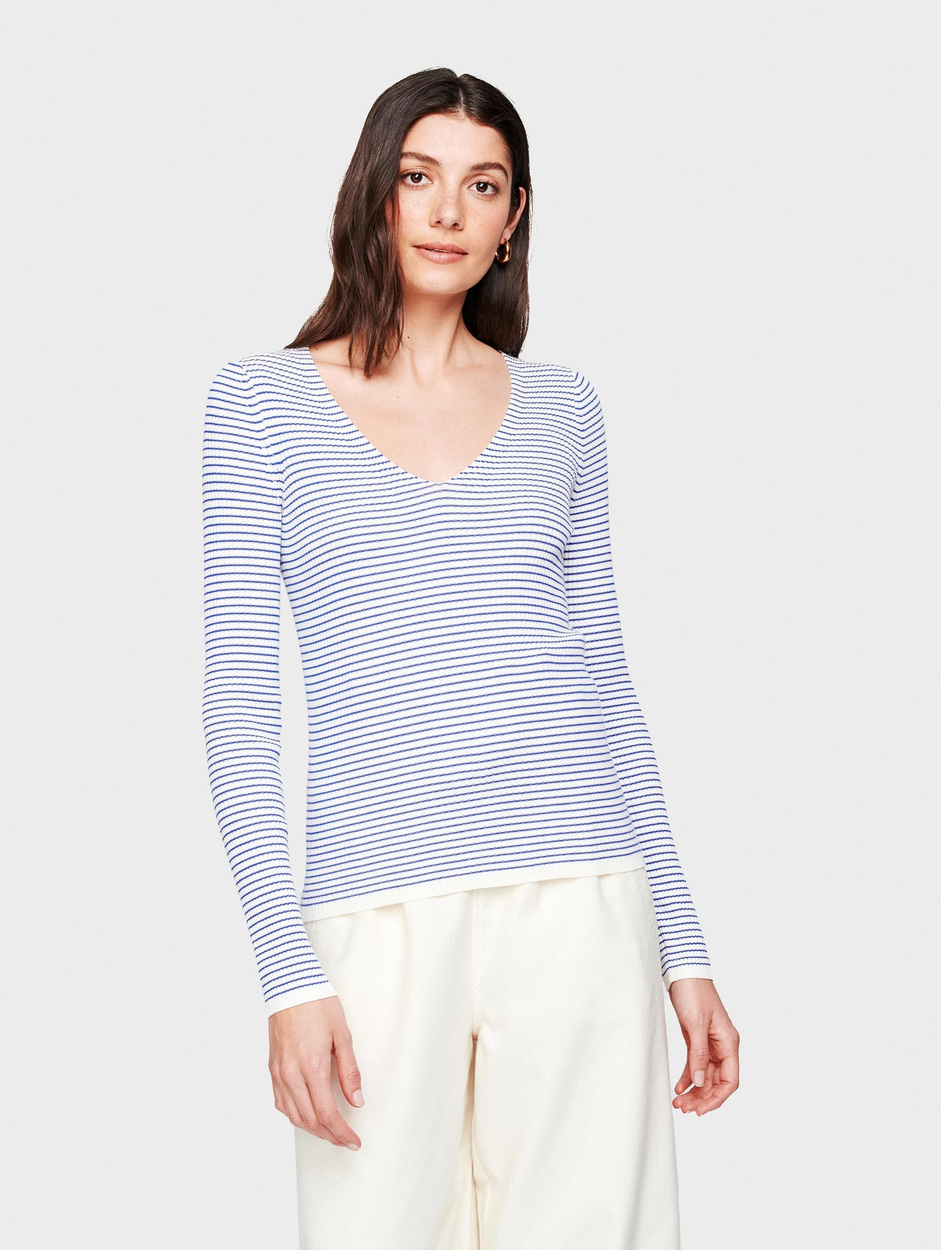 Essential Cotton Striped Ribbed V Neck