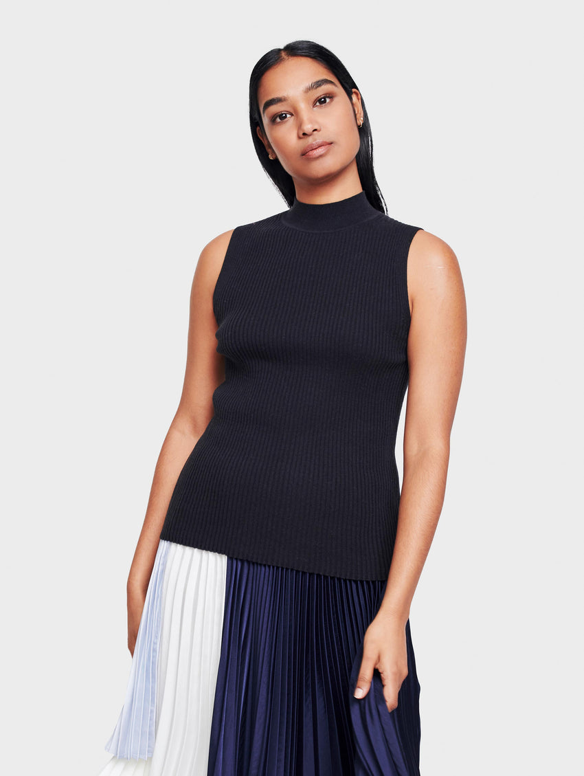 Cotton Ribbed Mockneck Tank