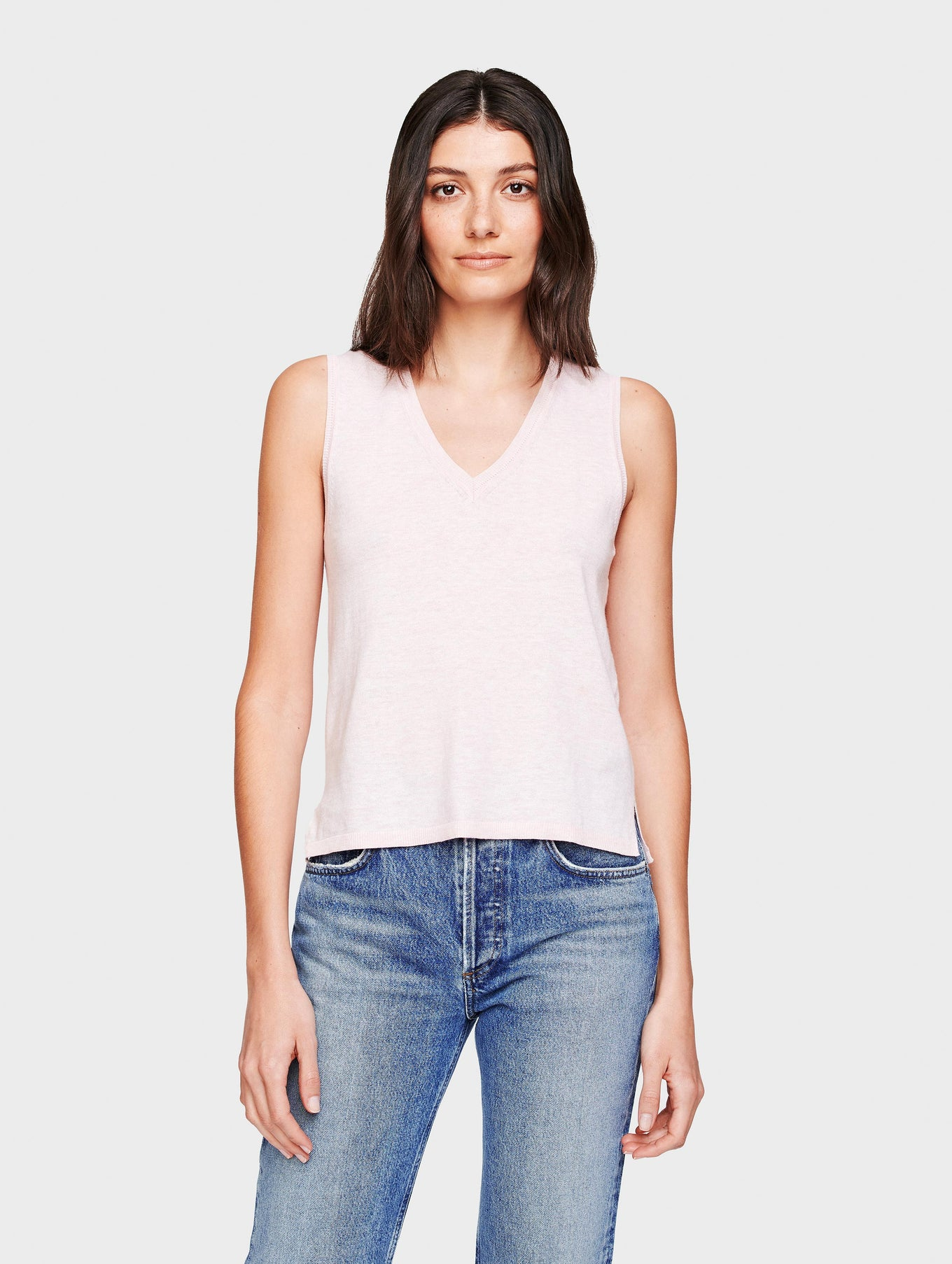 Linen Sleeveless V Neck