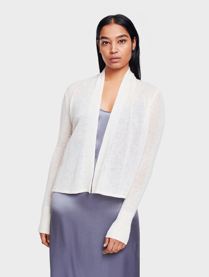 Cashmere Cropped Swing Cardigan