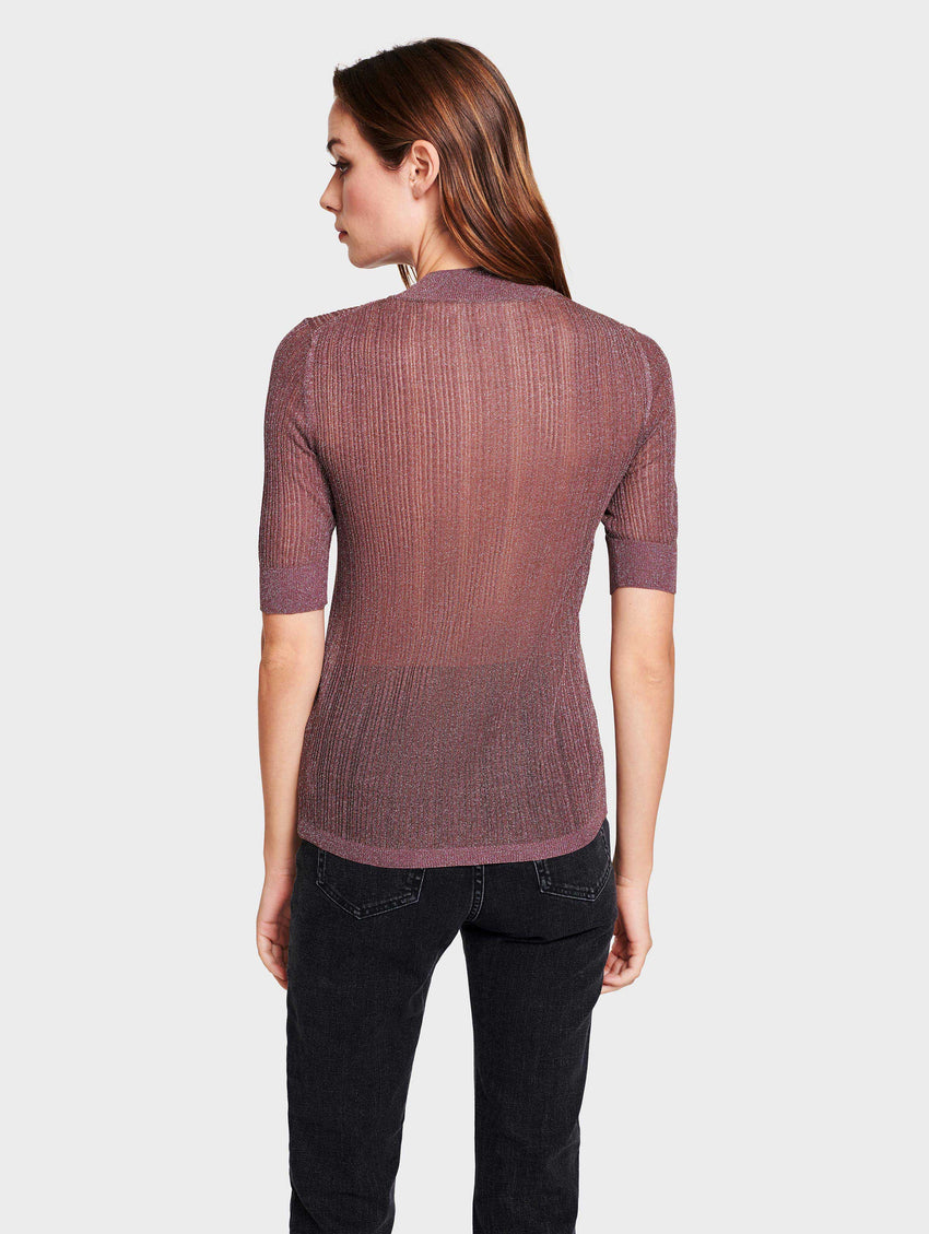 Shine Ribbed Mock Neck