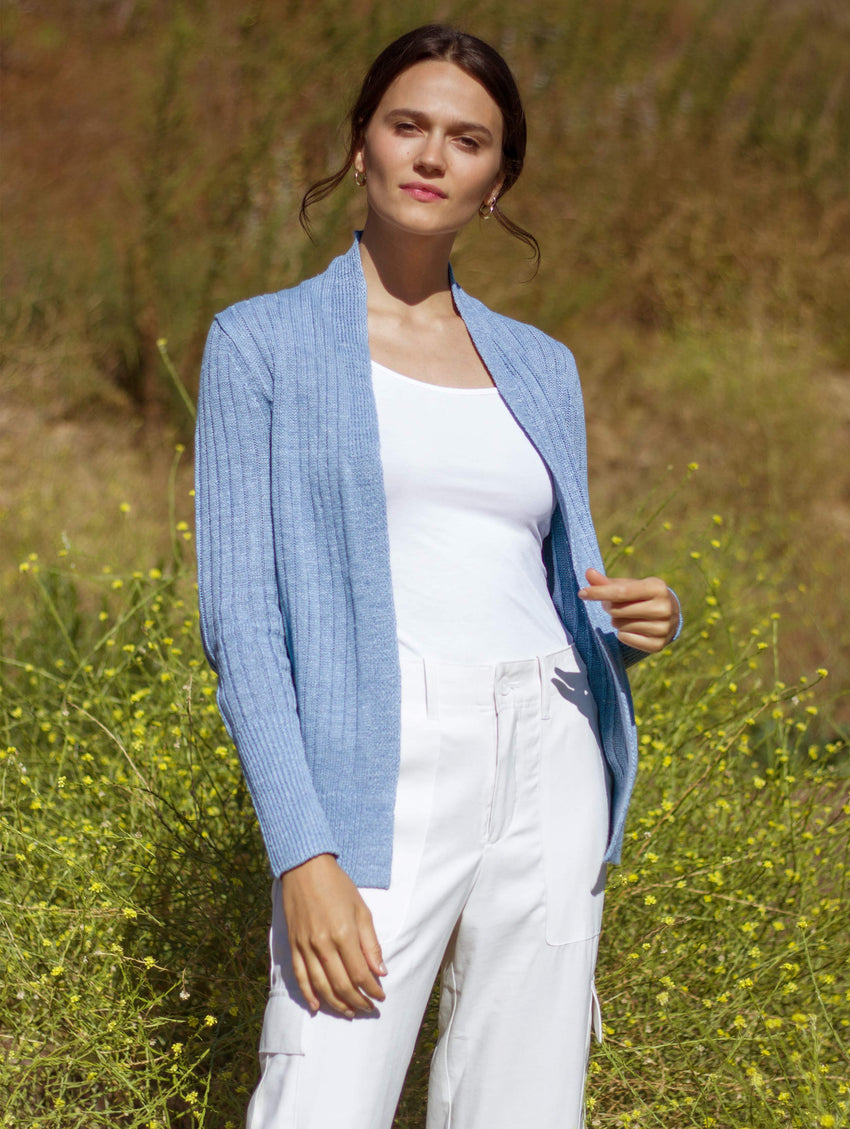 Linen Ribbed Trim Open Cardigan