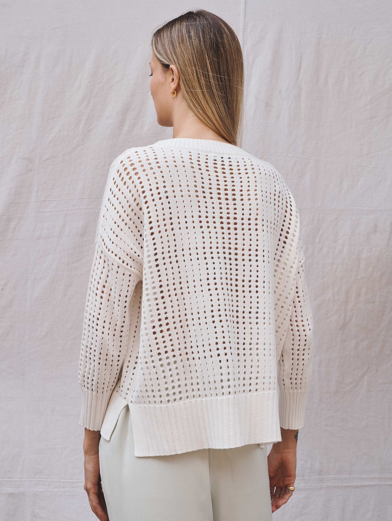 Cotton Mesh Knit Crewneck
