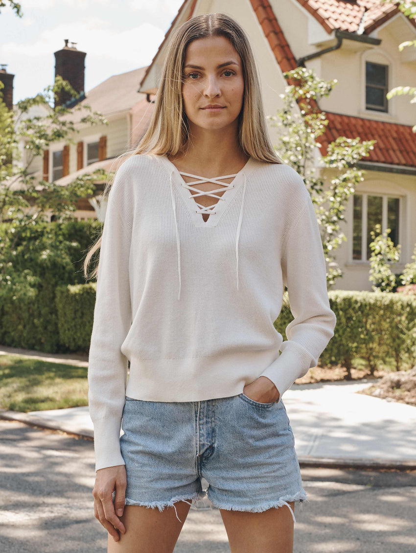 Cotton Lace Up Top