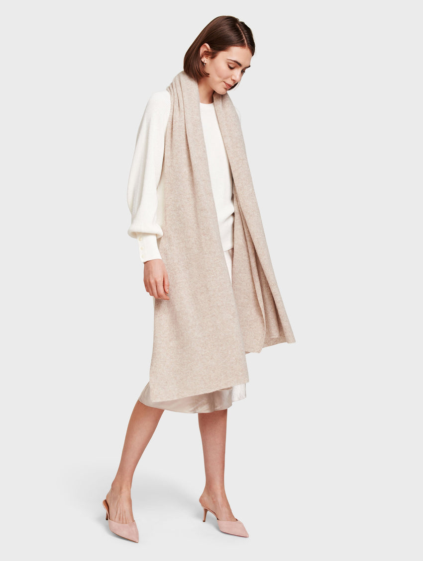 Cashmere Travel Wrap - Sand Wisp Heather - Image 2
