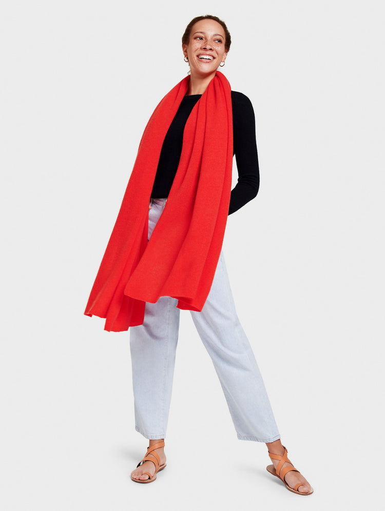 Cashmere Travel Wrap - Sunset Red Heather - Image 1