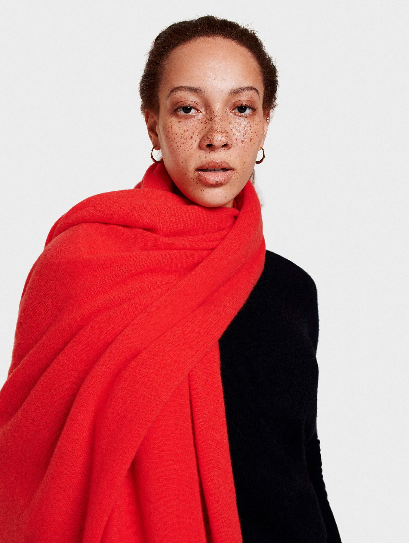 Cashmere Travel Wrap - Sunset Red Heather - Image 3