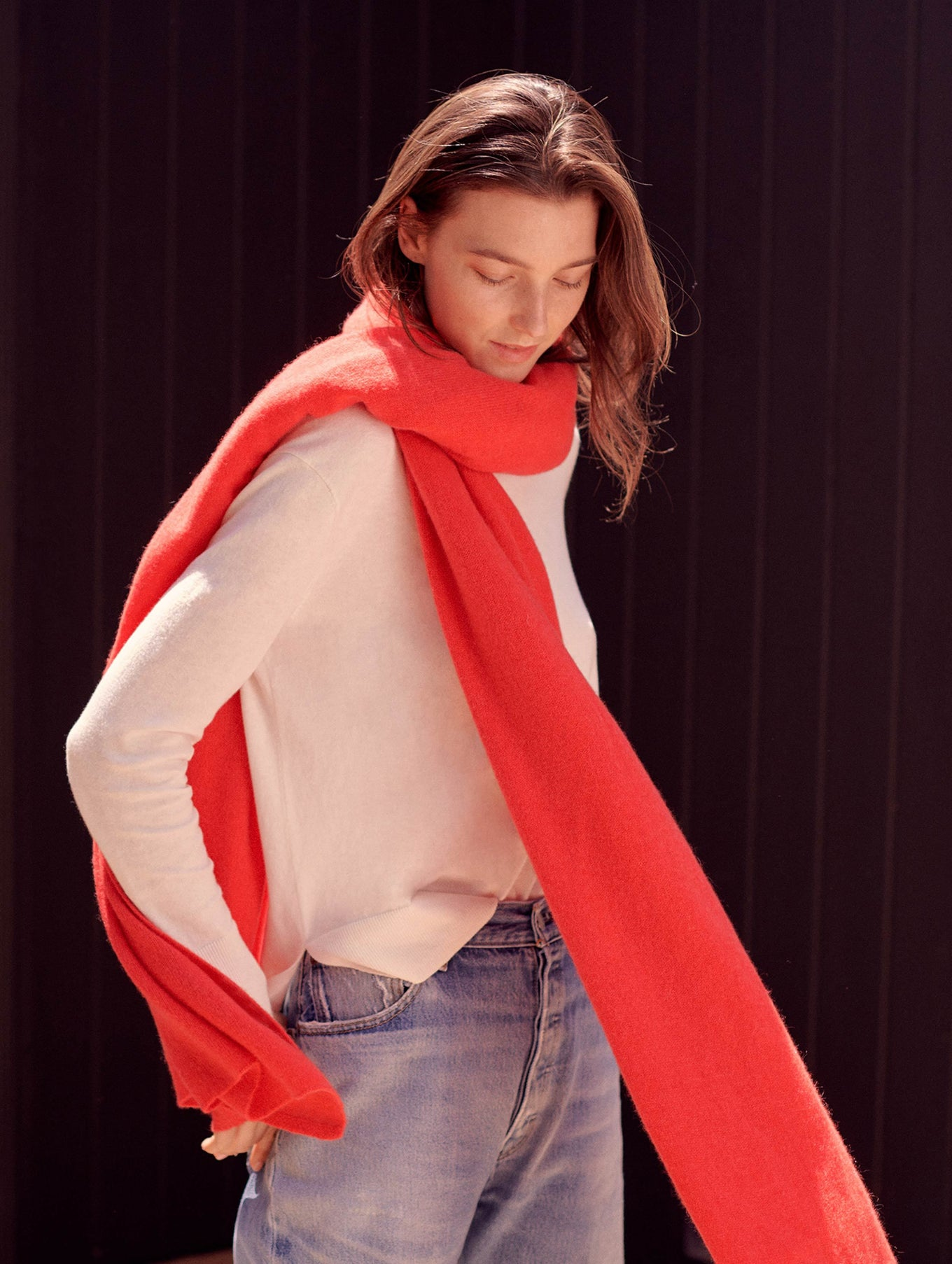 Cashmere Travel Wrap - Sunset Red Heather - Image 2