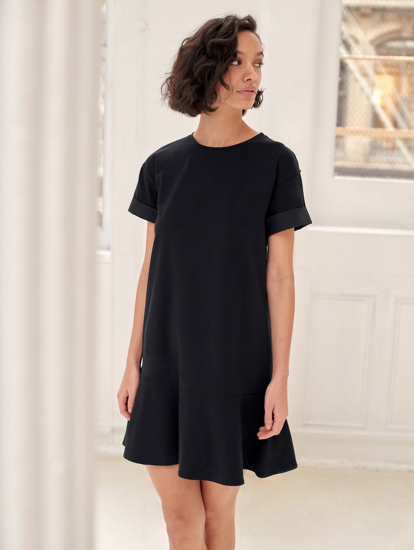 Combed Cotton Drop Waist Tee Dress
