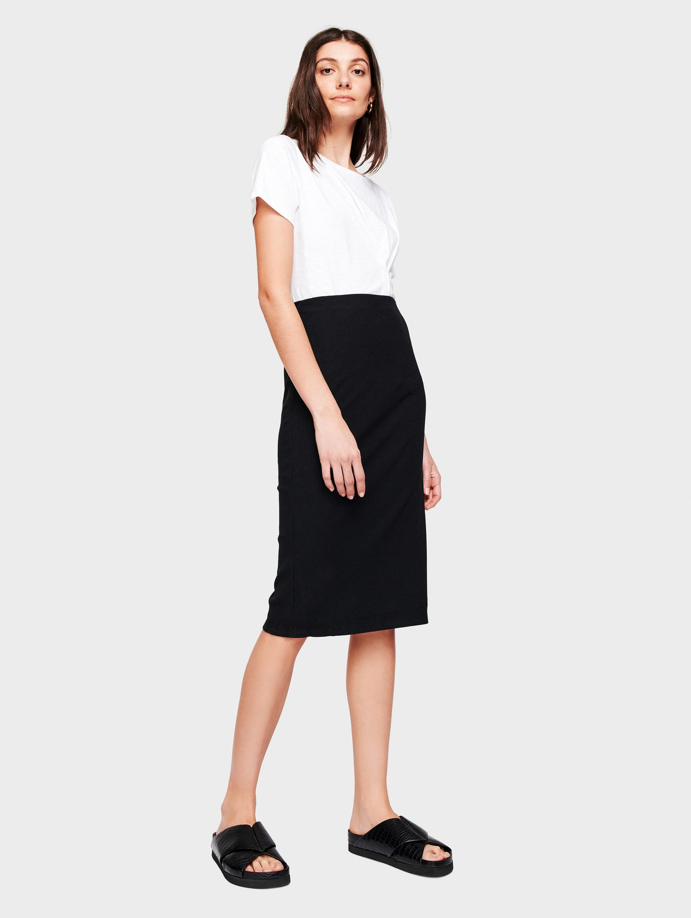 Cotton Ribbed Pencil Skirt