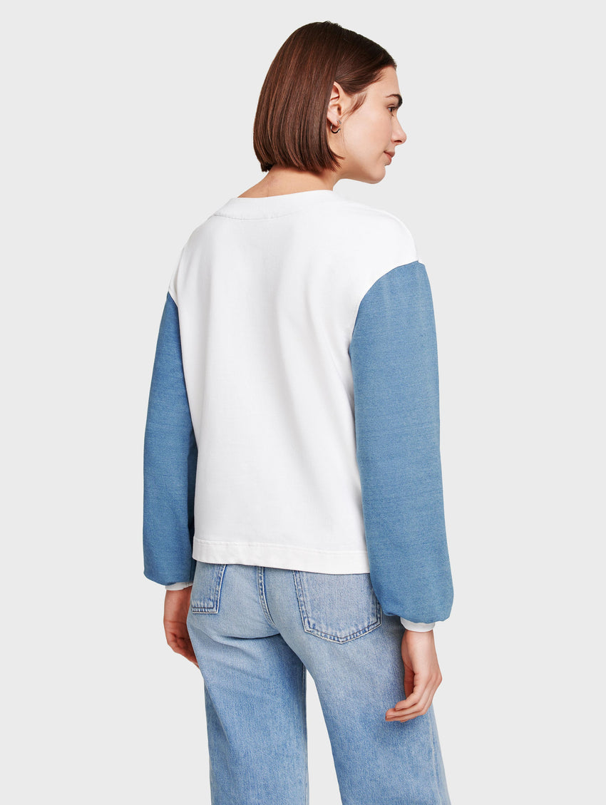 Denim Colorblock Crewneck