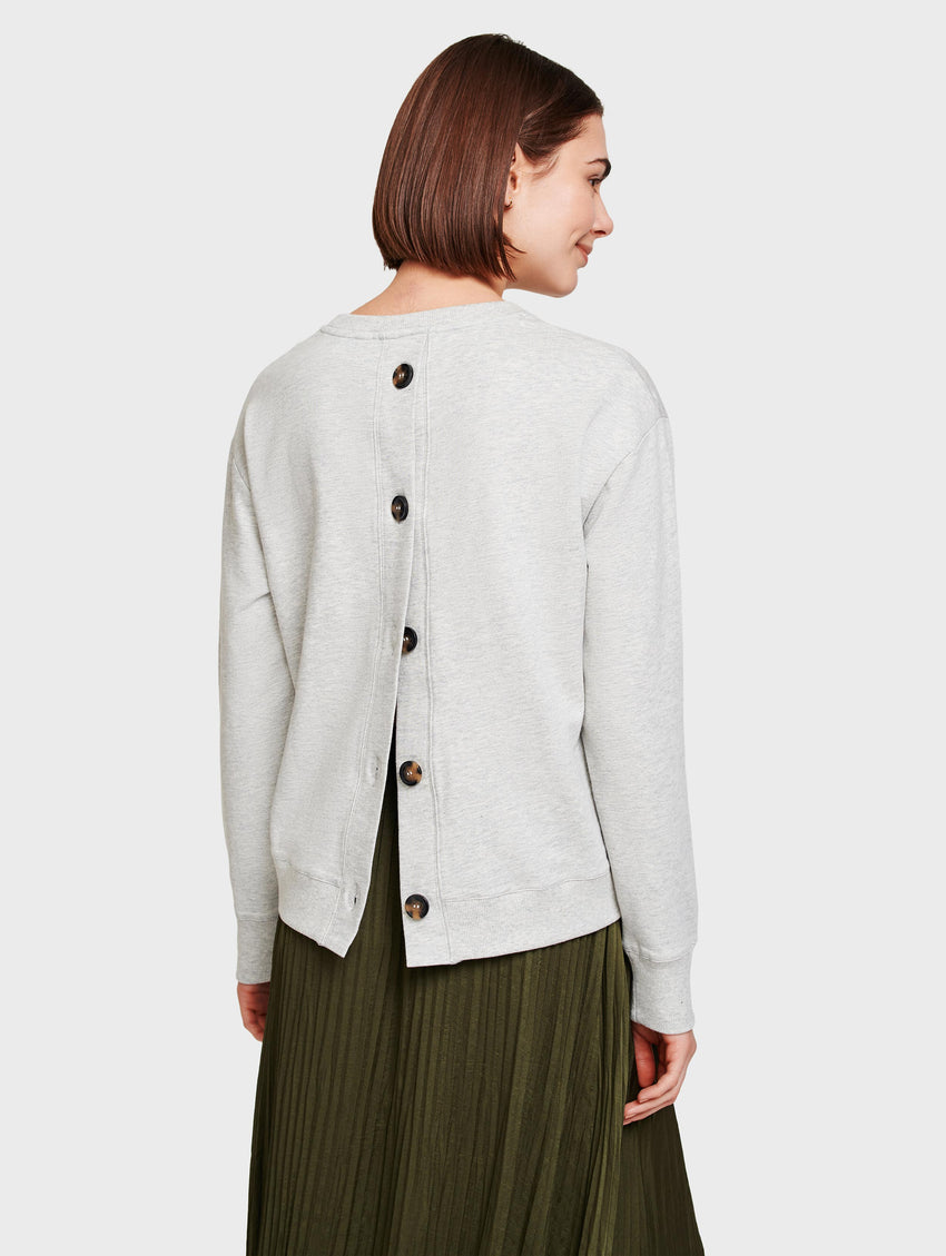 Cotton Terry Button Back Sweatshirt