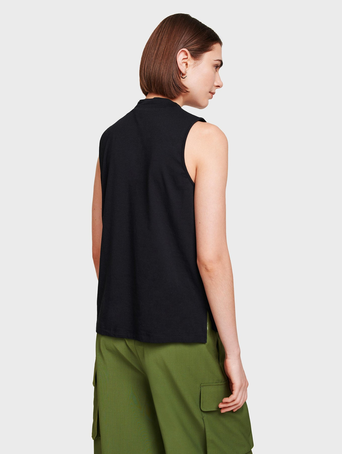 Cotton Modal Sleeveless Mockneck
