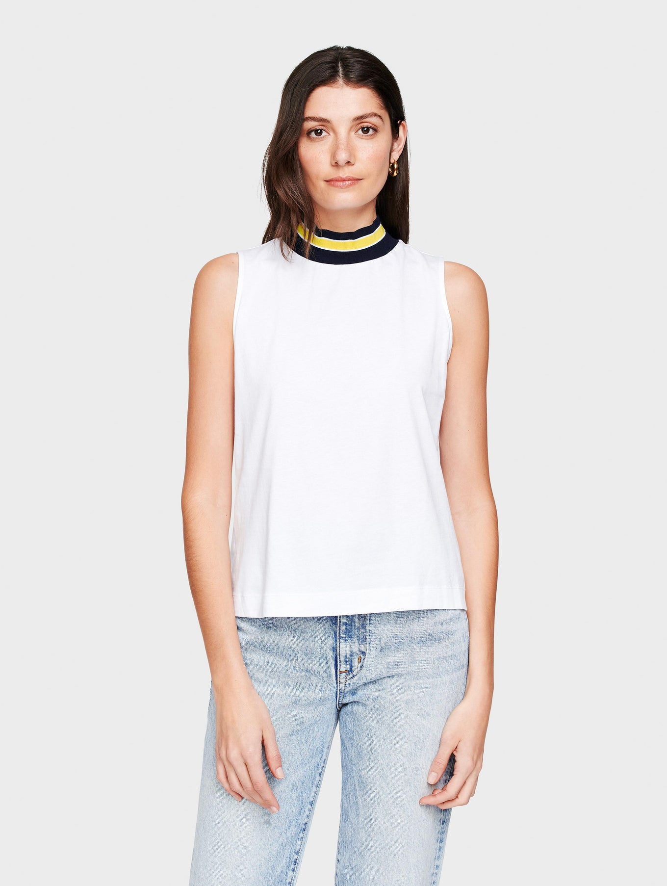 Cotton Ribbed Collar Mockneck