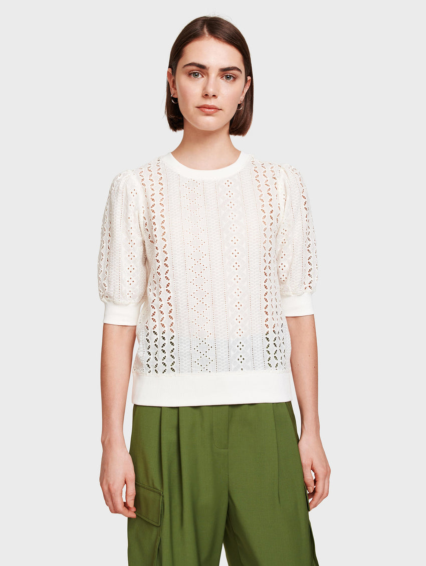 Cotton Terry Lace Mix Top